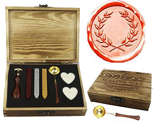 (MNYR Olive Wreath Elegant Wooden Box Wax Seal Sealing Stamp Wedding Invitations Gift Stationary Envelope Embellishment Seals Custom Wax Seal Stick Wooden Handle Melting Spoon Heart Candle Gift Box Set)