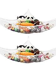 2PCS Toy Hammock Ball Storage Net Stuffed Animal Hammock Toy Net for Stuffed Animals Teddies Large Mesh Toys Holder Net Organiser with 6 Strong Hooks