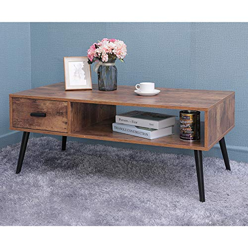 IWELL Mid-Century Boho Coffee Table with 1 Drawer and ...
