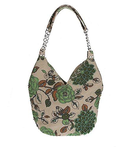 Pulama Handmade Blooming Flowers Shoulder Bag,Vintage Handbag in Leisure Village Life (Green)
