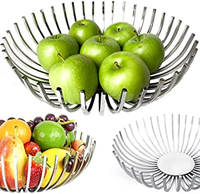 Decorative Fruit Bowl for Modern Kitchen, Stylish Centerpiece Bowl Dining  Room Decor, Metal Fruit Basket for Kitchen counter, Coffee Table Décor, ...