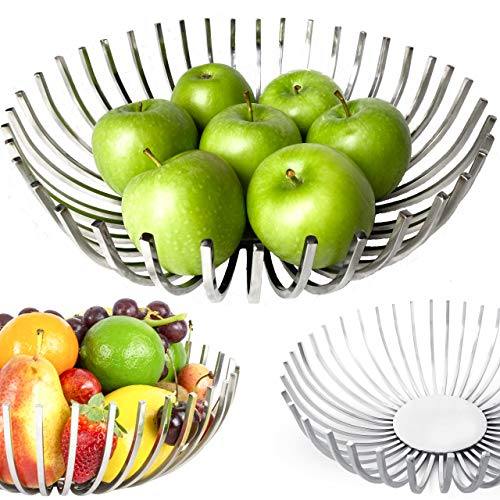 Decorative Fruit Bowl for Modern Kitchen, Stylish Centerpiece Bowl Dining Room Decor, Metal Fruit Basket for Kitchen counter, Coffee Table Décor, Stainless Steel Fruit Holder, Handmade Kitchen Gift