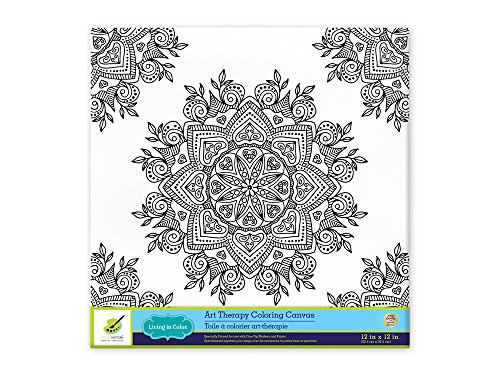 Living In Color Art Therapy Stretch Artist Canvas Primed, 12in X 12in, Color  Your