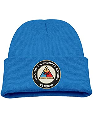 US Army 2nd Armored Division Kids Baby Knitted Hat Sleeve For Autumn/Winter