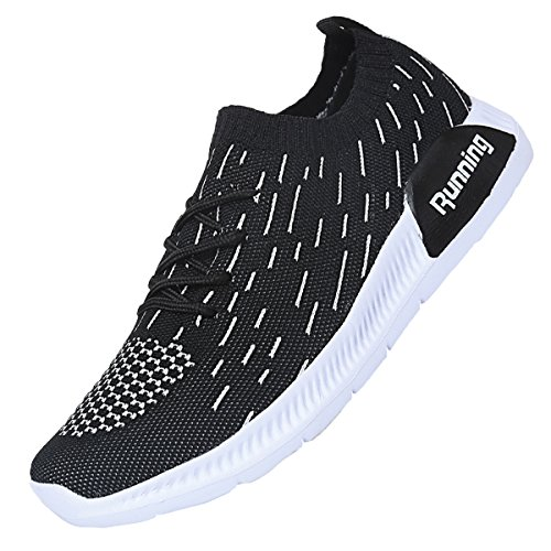 JARLIF Women's Lightweight Fashion Walking Sneakers Breathable Athletic Tennis Running Shoes US5.5-10 Black