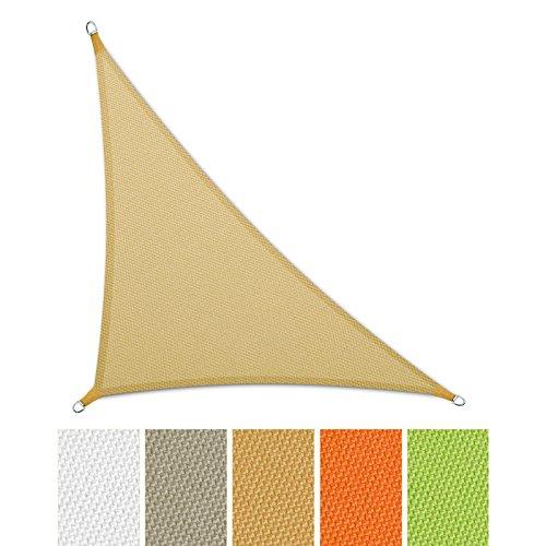 casa pura® Sonnensegel wasserabweisend imprägniert | Dreieck | UV Schutz | verschiedene Farben und Größen (sandfarben, 3,6 x 3,6 x 5,1 m)