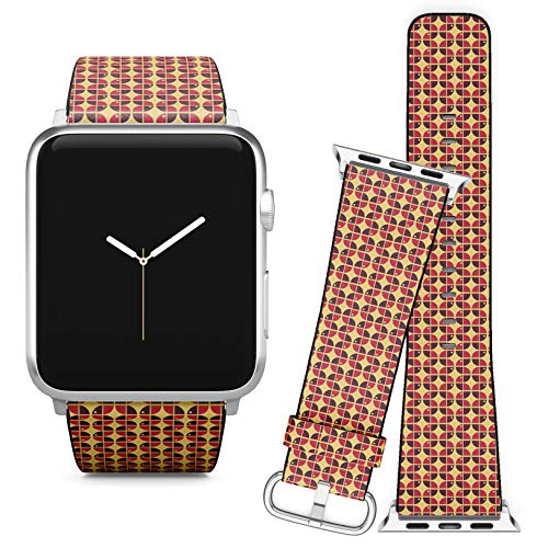 Compatible with Apple Watch (42/44 mm) // Leather Replacement Bracelet Strap Wristband + Adapters // 60S Inspired Geometric