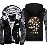Cosfunmax TWD Skull Hoodie Sweatshirt Spring Winter Warm Fleece Thicken Jacket Zipper Coat 4XL
