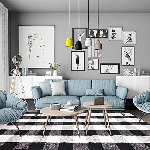 KIMODE Cotton Plaid Rug Black/White Hand-Woven Buffalo Checkered Floor Mats 47'' x 71'', Washable Carpet for Porch Doormat Kitchen Rugs ()