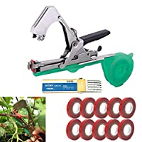 LIRANK Tying Machine Plant and Garden Plant Tying Tool Tapetool Tapener Vegetable Branch Hand Binding Stem Strapping Tool with 10 Rolls Tape Set for Fruit Flower Vine Tomato Cucumber and Pepper
