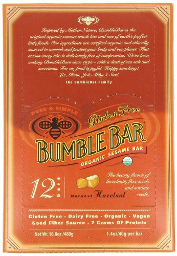 BumbleBar Gluten Free Organic Energy Original with Hazelnut,