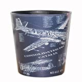 Trash Can, Hmane British Style Trash Bin Household Uncovered Garbage Can Decoration(Plane Pattern) - Pattern-12