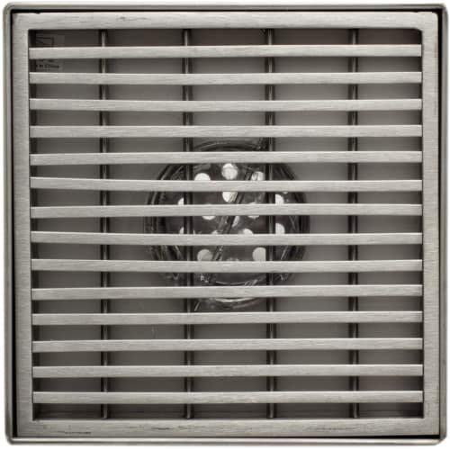 Silver ALFI TRADE ALFI brand ABSD55D 5 x 5 Square Stainless Steel Shower Drain with Groove Lines