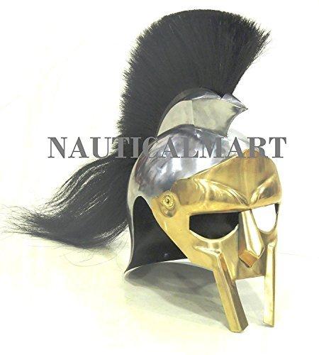 NAUTICAL MART nautique Mart médiéval Gladiator Maximus Decimus Meridius casque Noir avec plume NauticalMart Inc