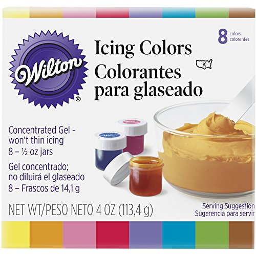 Wilton Set of 8 Icing Colors - Pink Brown Color