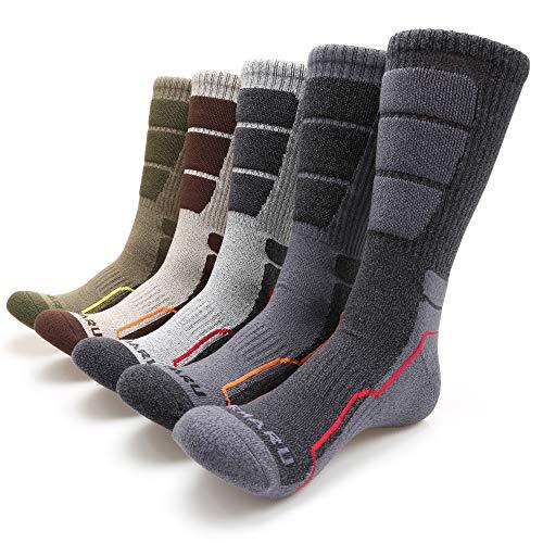 MIRMARU Men's 5 Pairs Hiking Outdoor Trail Running Trekking Moisture Wicking Cushion Crew Socks (M223-LARGE) (Best Wool Work Socks)