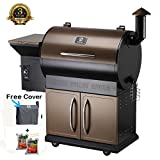 Z GRILLS Wood Pellet Grill & Smoker with Patio Cover, 7 in 1- Grill,700 Cooking Area, Roast, Sear, Bake,Smoke, Braise and BBQ with Electric Digital Controls for Outdoor,Garden