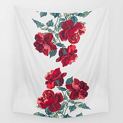 Floral Tapestry Red Blossoms Rose Tapestry Wall Hanging Wall Blanket Bedding Tapestry Wall Art Home Decor Wall Decor Living Room Bedroom Dorm Room 79x59 Inch