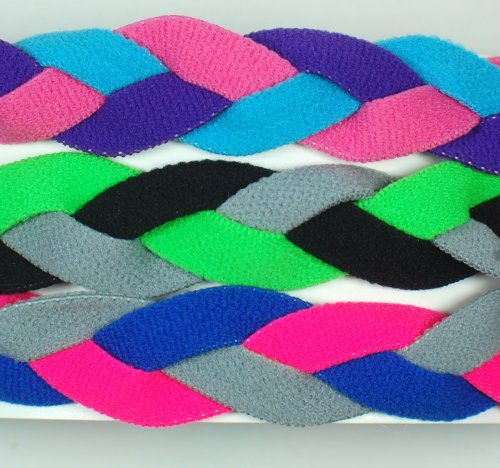 3 PACK! Extreme Sports Braided Mini NON SLIP Sports Headband (Light Blue Pink Purple-Neon Green Black Gray-Pink Royal (3 Pack Mini Headbands)