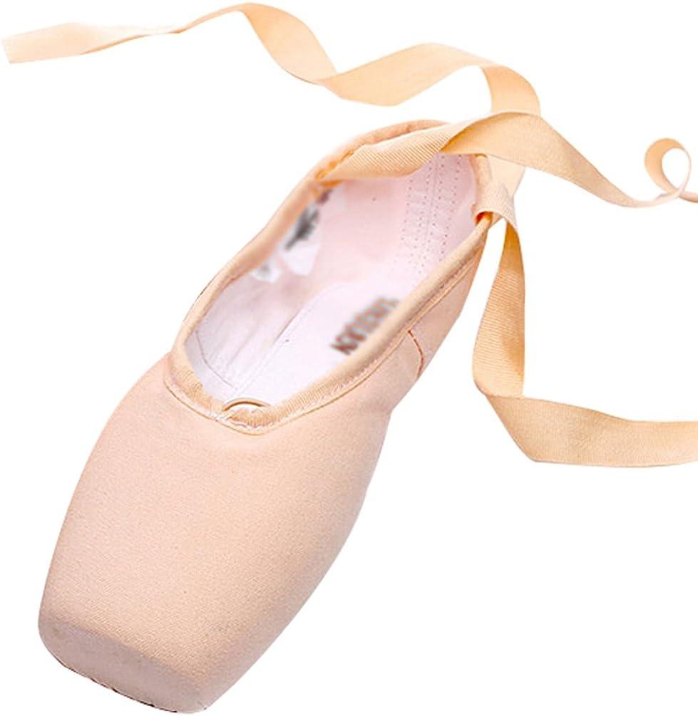 LINNUO Chaussures de Ballet de Pointe pour Les Filles Pointe des Orteils Et des Rubans