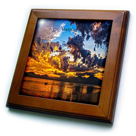 3dRose Lens Art by Florene - Worlds Exotic Places - Image of Gorgeous Sunset Over Da Nang Vietnam - 8x8 Framed Tile (ft_302048_1)