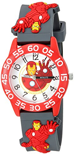 Marvel Boy's 'Iron Man' Quartz Plastic and Silicone Casual Watch, Color:Grey (Model: WMA000032)