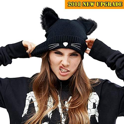 NW 1776 Cat hat Beanies for Women Knitting 2018 New (Black)