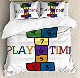 Hopscotch Duvet Cover Set King Size by Lunarable, Games of the Schoolyard Theme Play Time with Colorful Doodle Blocks and Letters, Decorative 3 Piece Bedding Set with 2 Pillow Shams, Multicolor