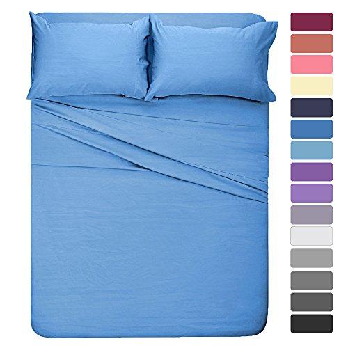 ed Sheet Set King Sheet Sky Blue Super Soft Microfiber Bedding Sheet 16-Inch Deep Pockets,Hypoallergenic & Fade Resistant (Blue King Sheet Set)
