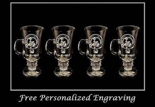 MacDonald Scottish Clan Crest Coffee Glass 10oz. Set of 4 Stemmed Coffee Glasses- Free Personalization