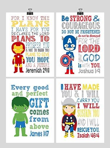 Avengers Christian Superhero Nursery Decor Art Print Set of 4 - Thor, Captain America Hulk and Ironman - Multiple Sizes by Pixie Paper
