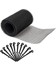 Plastic Gutter Guard, 7 X 315 Inch Gutter Downspout Leaf Filter Protection Mesh Screen Cover with 10 Fixed Hooks, Gutter Splash Roof Panels Gutter Cleaning Tool