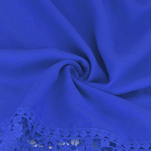 Mode Manche Fille Blouses Bleu Loose longue Elegante Chemisier Femmes Dentelle Kingwo Y0IB4