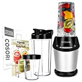 COSORI Upgraded Personal Blender(Recipe Book Included), 10-Piece Smoothie & Shakes Blender with 800W Auto-Blend Base for Ice Fruits & Nutrients Extraction,2 x 24oz cups, 1 x 12oz cup