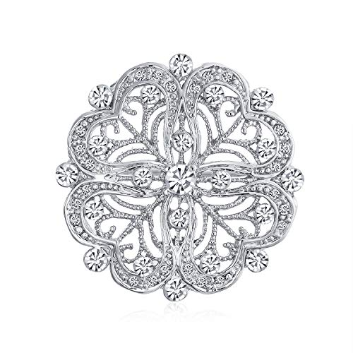 Bling Jewelry Vintage Antique Style Floral Heart Filigree CZ Brooch Pin for Women Silver Plated Brass (Filigree Floral Brooch)