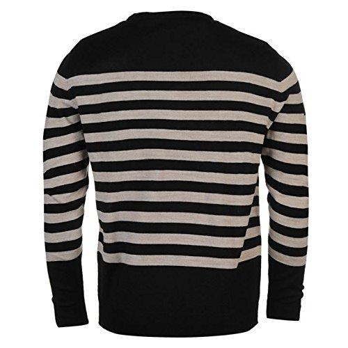 Pierre Cardin Stripe Knit Jumper Herren Schwarz Pullover Pullover Top
