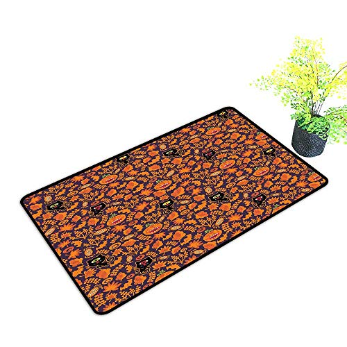 Diycon Outdoor Doormat Vintage Halloween Halloween Themed Elements on a Purple Background Scary Mosters W20 xL31 Easy to Clean Dark Purple Orange]()