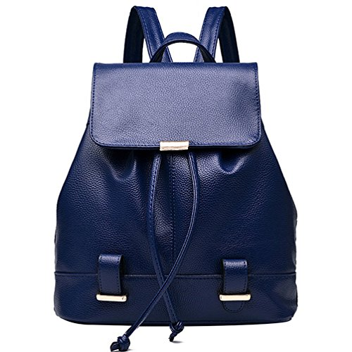 Soft PU Leather Travel bag Laptop Backpack School Rucksack(Blue) - 6