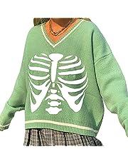 FUNWAVE Vrouwen Casual Pullover Truien Crew Neck Losse Fit Skelet Print Gebreide Sweatshirts Hip Hop Y2k Mode Streetwear, Groen-2, S