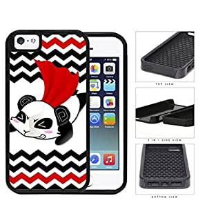 Flying Superhero Panda Cartoon With Chevron Design 2-Piece Dual Layer High Impact Rubber Silicone Cell Phone Case Apple iPhone 5 5s
