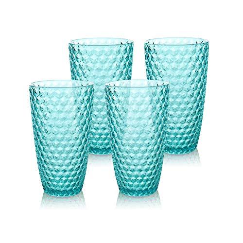 BELLAFORTE – Shatterproof Tritan Plastic Tall Tumbler Blue – 19oz, Set of 4, Laguna Beach Drinking Glasses, Dishwasher…