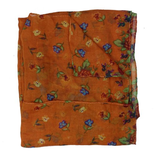 eFuture(TM) Orange Fashion Soft Paris Yarn With Flower Pattern Long Muffler Shawl Scarf Wraps +eFuture's nice Keyring