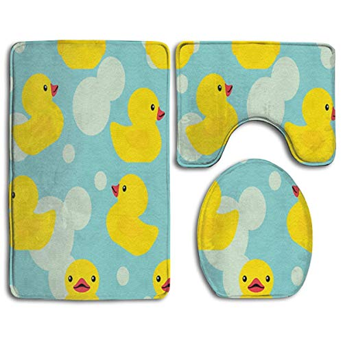 Bathroom Rug Shag - Rubber Ducky - 3 Piece Memory Foam Anti Slip Bathroom Rug/Large U-Shaped Bath Mats/Lid Cover Fast Dry Water Absorbent Bathroom Carpet/Extra Soft