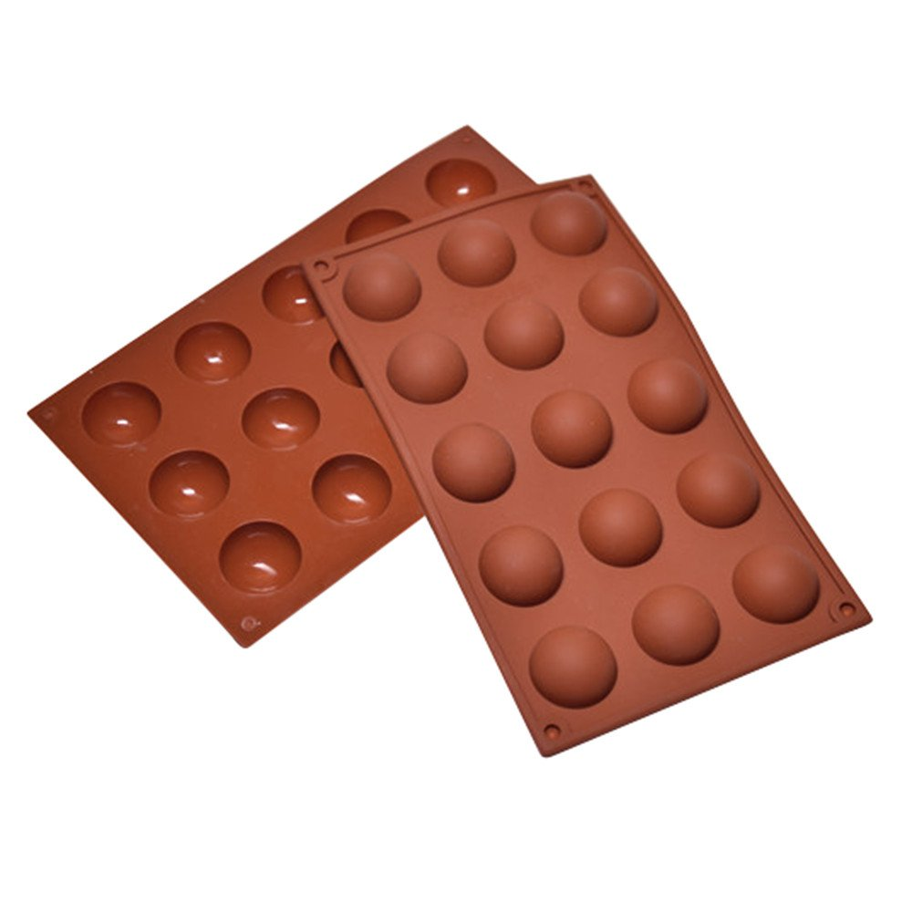 CYCTECH 15 Grid Half Ball Shape Silicone Mould DIY Chocolate Cupcake Cake Muffin Baking Mold (Coffee)