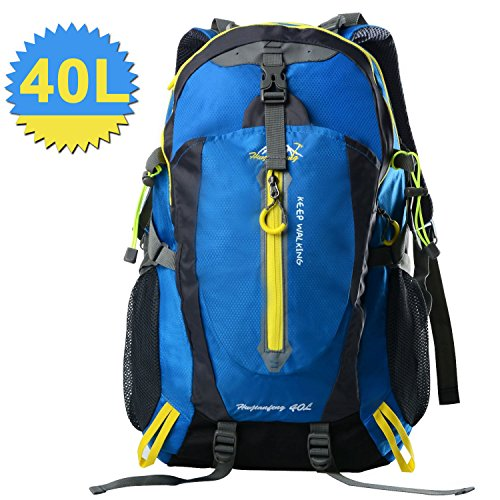 40L Hiking Backpack Waterproof Daypack Bags For Climbing, Camping, Hiking, Travel,Cycling,Skiing (blue)