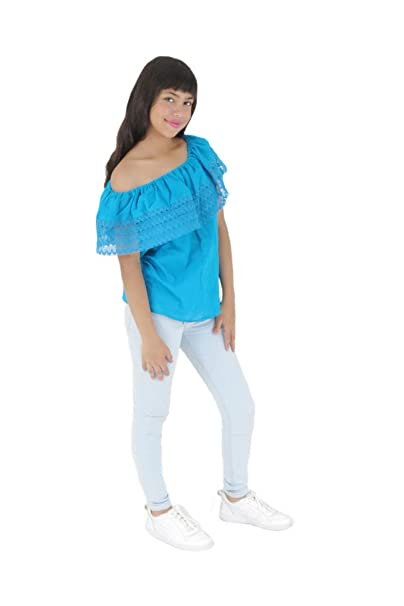 d1b6e0669c7 Uipil Womens Mexican Blouse Off Shoulder Elastic n Ruffle Light Manta one  Size Blue 5223