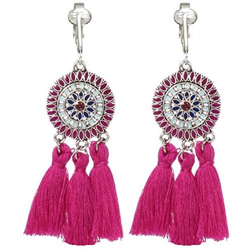 (Clip On Tassel Earrings-Silk Tassel-Long Clip On Feather Earrings-Bohemian Clip On Earrings-Dream Catcher (Pink Pendant Tassels))