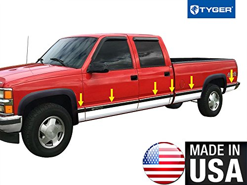 Pickup Stainless Pillar Posts - Tyger Auto Made in USA! Works with 1988-1998 Chevy Pickup Truck Crew Cab Long Bed with Fende Flare Full Length Rocker Panel Trim 6.25
