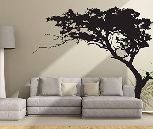 Fymural Huge Tree Wall Decal for Living Room TV Background Removable Decoration Art Sticker 86.6x70.9,Black ()
