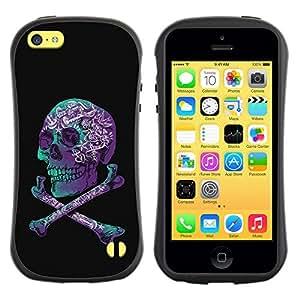 Be-Star Impreso Colorido Diseño Antichoque Caso Del Iface Primera Clase Tpu Carcasa Funda Case Cubierta Par Apple iPhone 5C ( purple black crossbones teal skull )